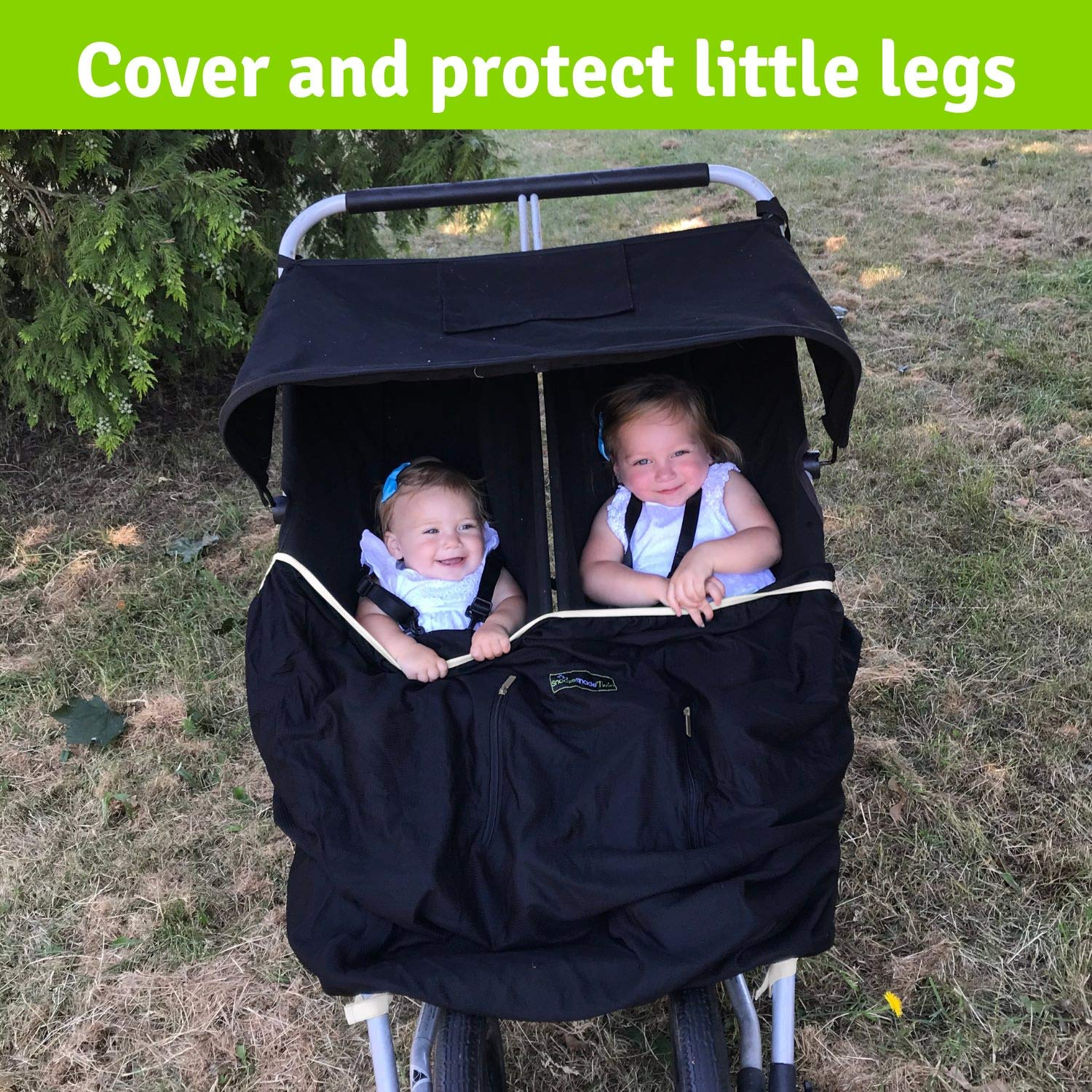 Double Stroller Cover & Sun Shade | Award-Winning Blackout Blind and Baby Sleep Aid | Stops 99% of The Sun's Rays | Lets Your Babies nap Safely Anywhere | Universal Fit | SnoozeShade Twin by SnoozeShade (Image #3)