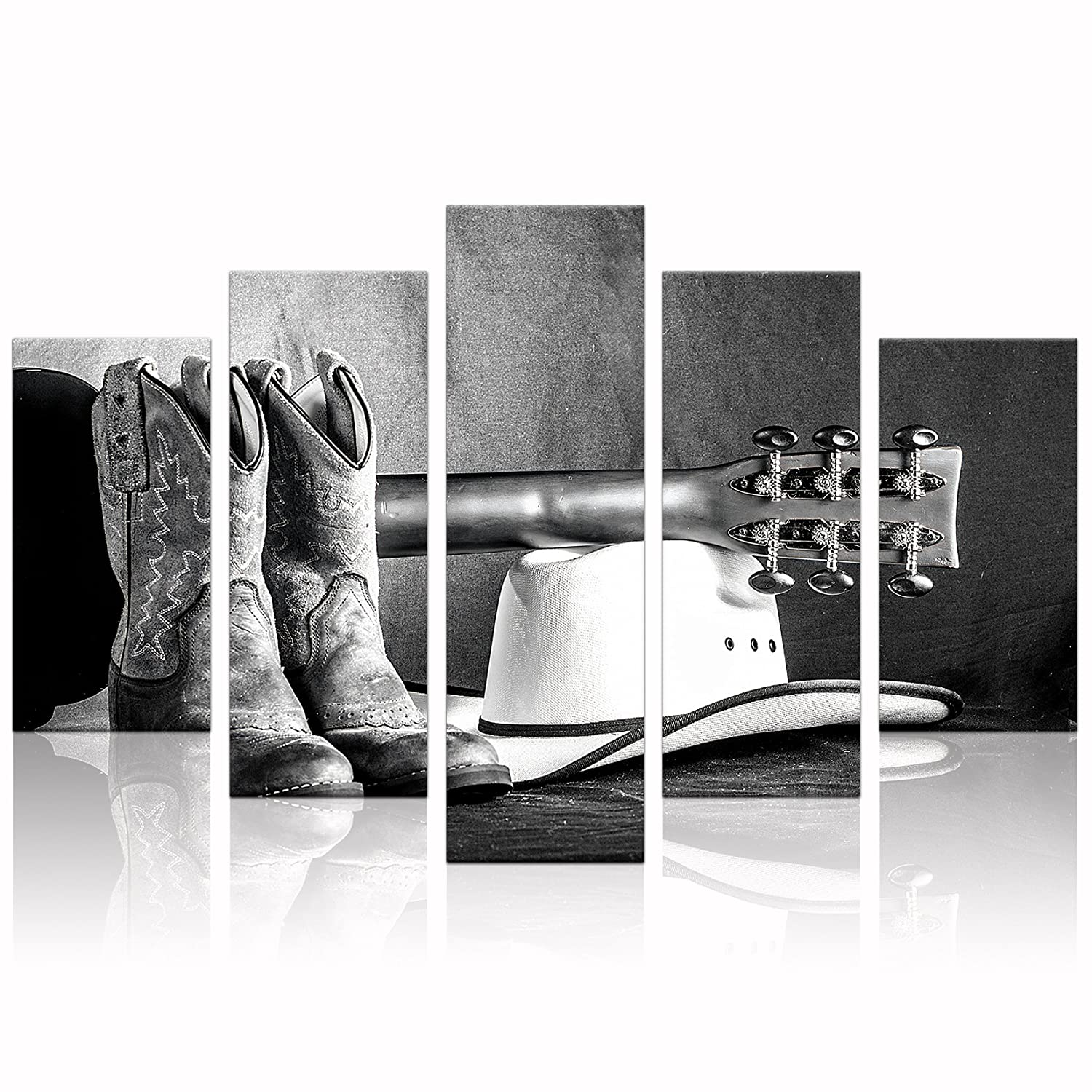 Klvos large black white wall art abstract cowboy boots hat an acoustic guitar music canvas prints art still life home decor framed living room ready to