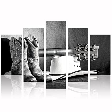 Amazon.com: KLVOS - Large Black and White Wall Art Abstract Cowboy ...