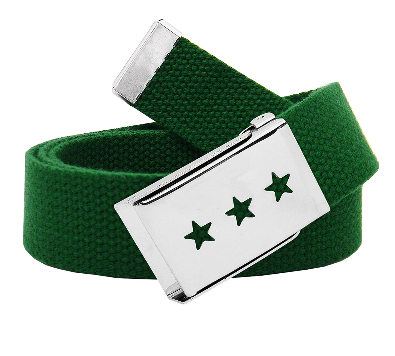 Girl's Triple Star Cut Out Silver Flip Top Belt Buckle with Canvas Web Belt 9803G-$P
