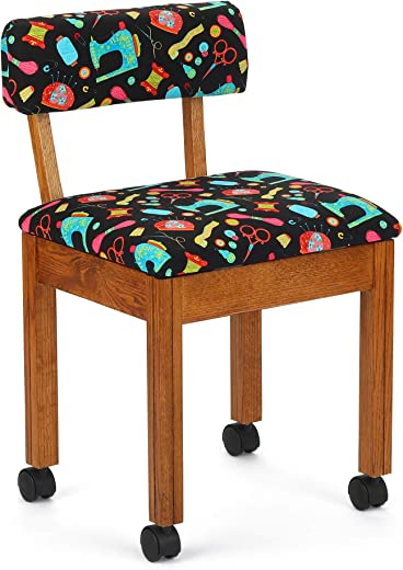 Arrow 7000B Wood Sewing and Craft Chair with Under Seat Storage, Print Upholstery Fabric by Riley Blake, Oak with Black...