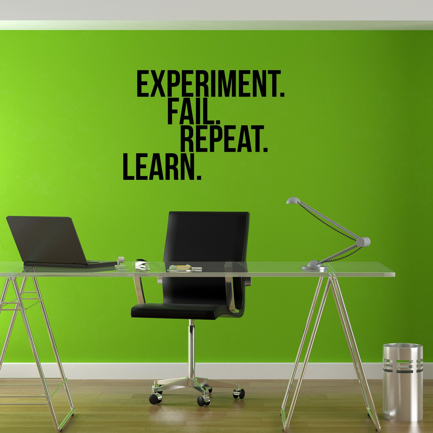 Home Work Office Wall Decor 16 x 23 Vinyl Wall Art Decal Inspirational Sayings Words Experiment Fail Repeat Learn Motivational Quote Removable Sticker Decals