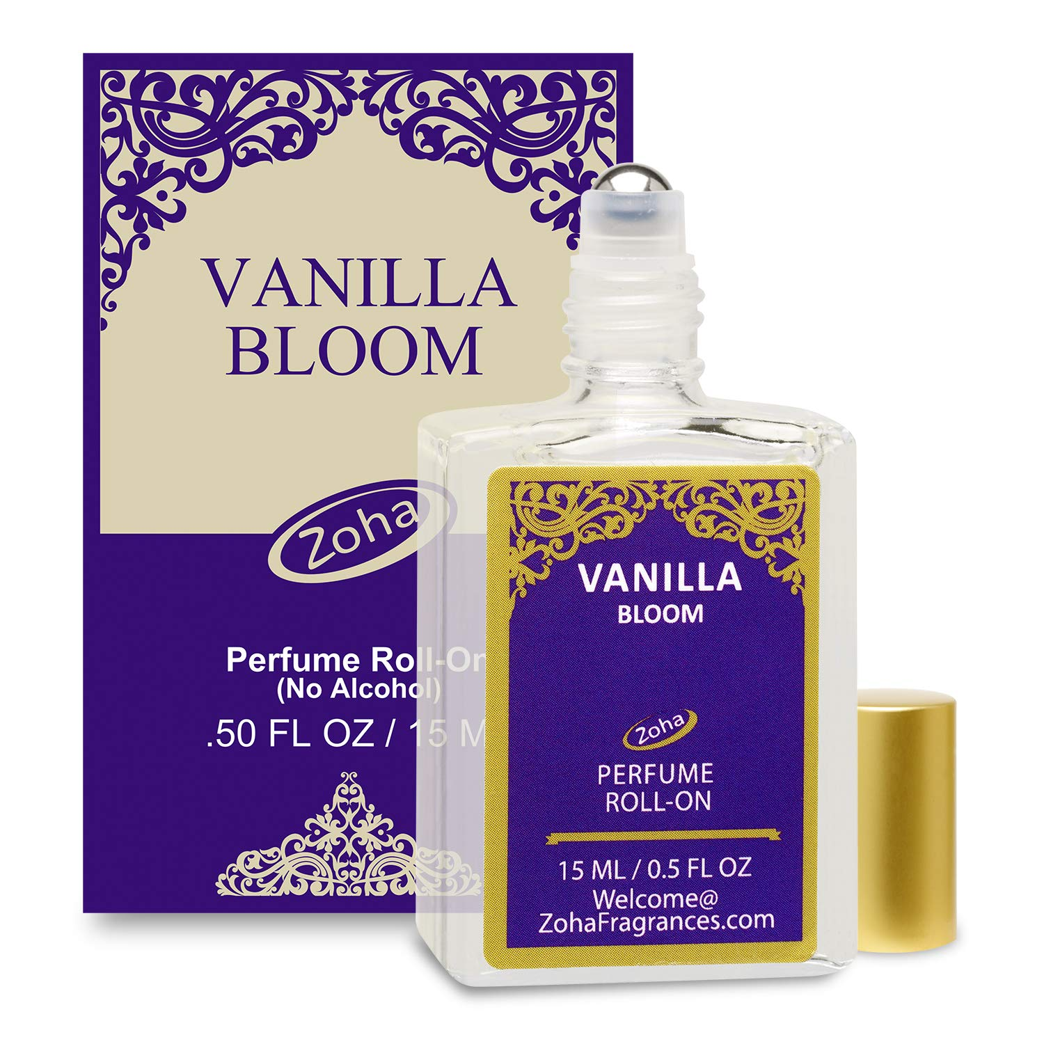 Vanilla Bloom Perfume Oil Roll-On (No Alcohol) - Essential Oils and Clean Beauty Perfumes for Women and Men by Zoha Fragrances, 15 ml / 0.50 fl Oz