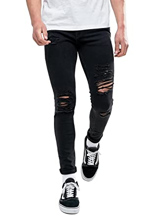 aa05887db3d8 Sarriben Men's Stretch Fashion Skinny Slim Fit Jeans Ripped Black Denim  Pants 28a