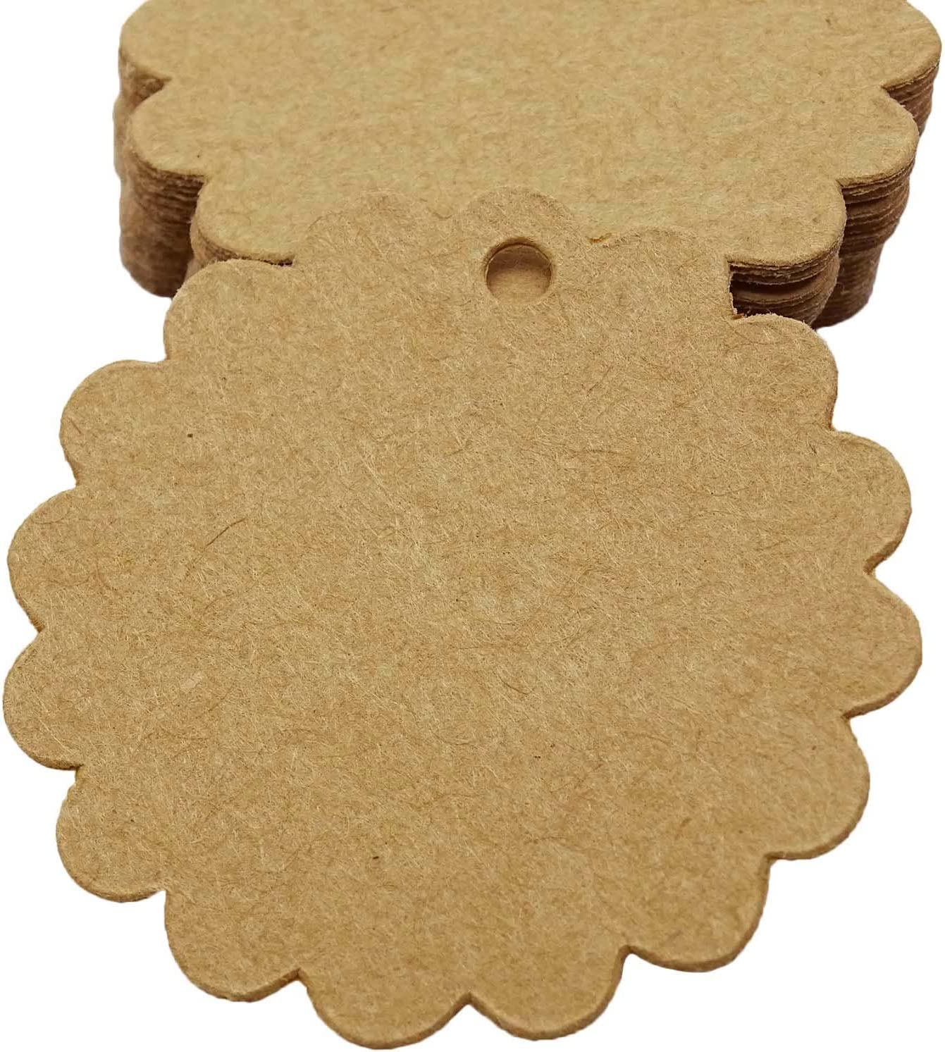 100 Scalloped Top Color Cardstock Tags ~ Gift Jewelry Retail Sale Price Hang Tag