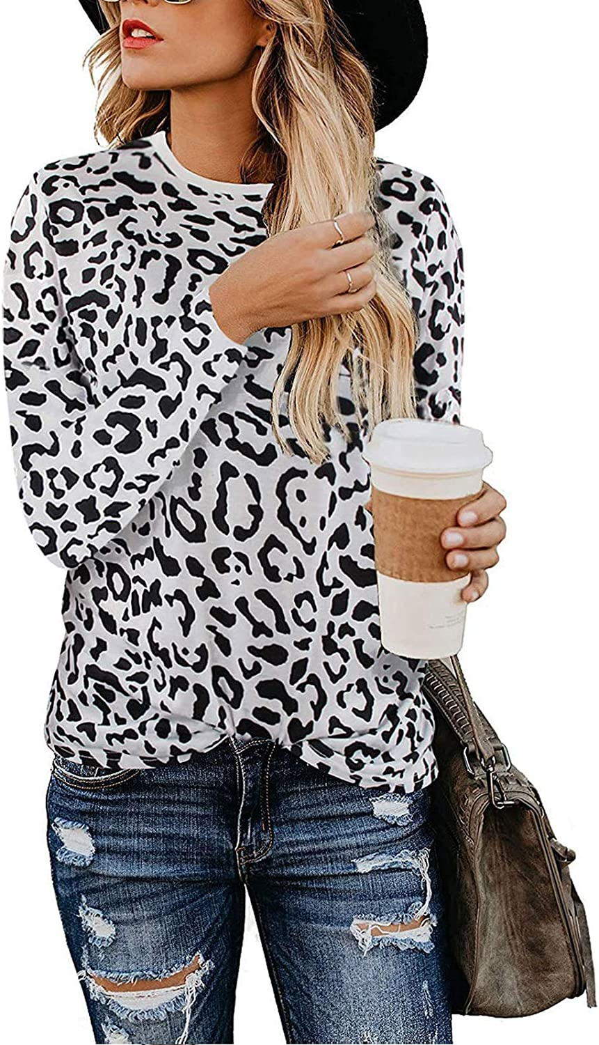 Adibosy Women Leopard Print Shirts Basic Tunics Round Neck Comfy Tops Long Sleeve Fashion Blouse