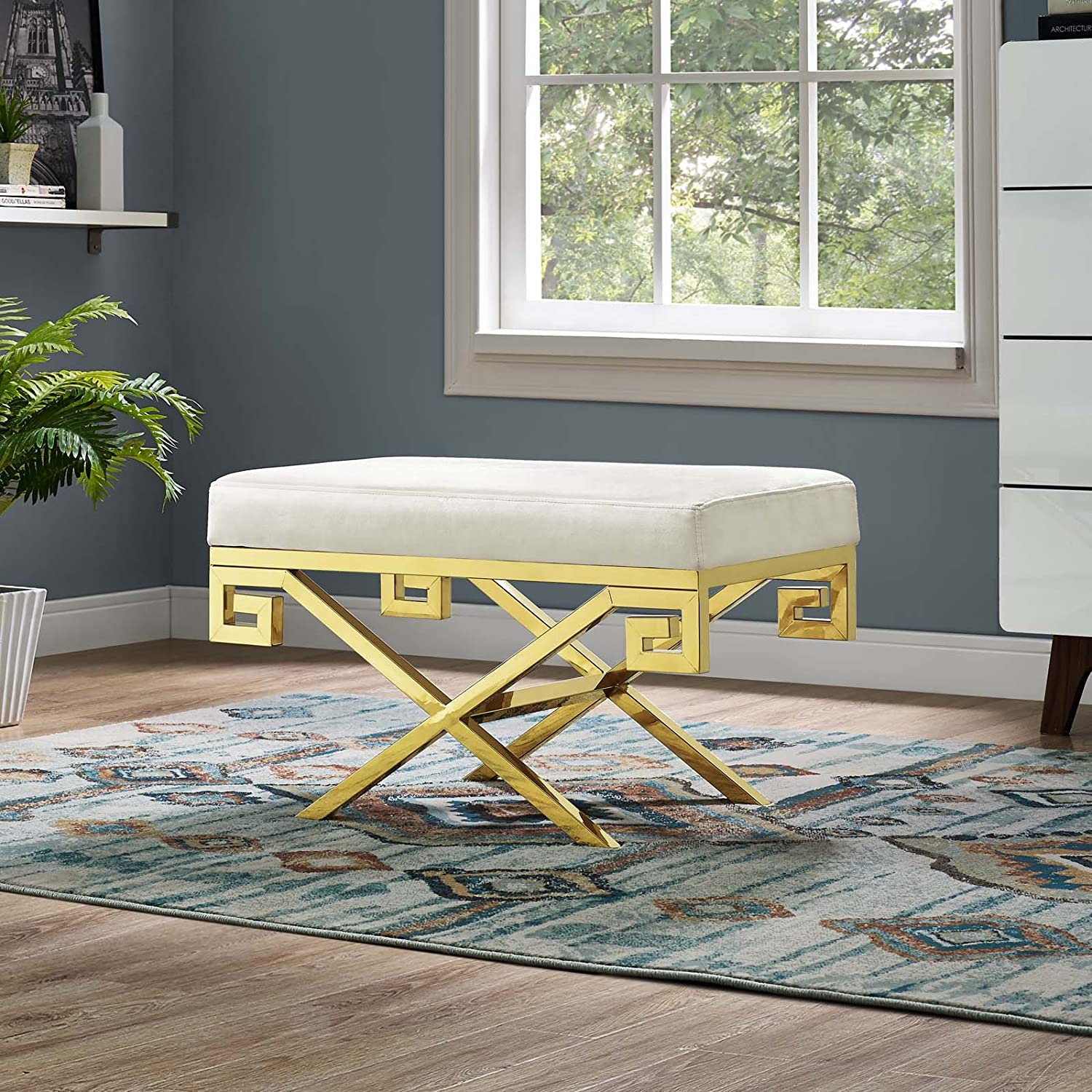 Modway Rove Greek Key X-Base Entryway Modern Bench With Velvet Upholstery in Gold Ivory