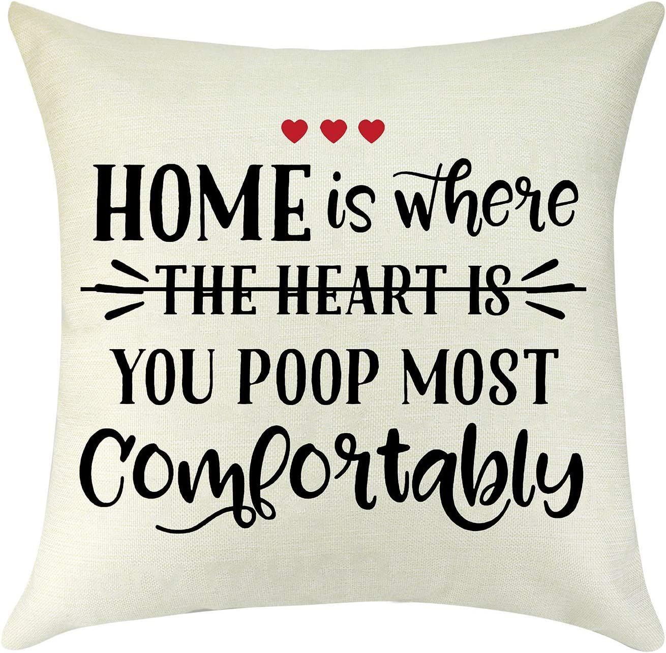 Funny New Home Cotton Linen Square Throw Pillow Covers Housewarming Gift Couples Gift Son Gift Daughter Gift Friend Gift Farmhouse Decor Pillow Case Cushion Cover for Sofa Couch Decorative 18