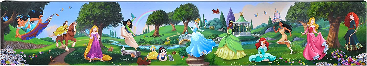 """Edge Home Products Disney Printed Canvas, 6"""" x 36"""", Princess Group Frolicking"""