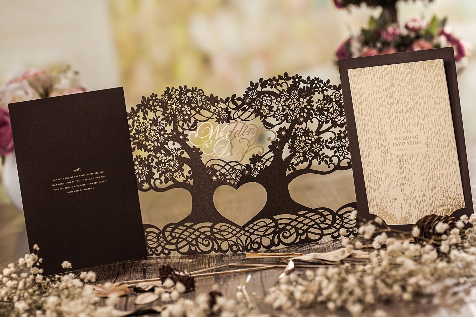 Wishmade 3D Magic Tree Design Laser Cut Wedding Invitations Invites Card Stock For Engagement Party Bridal Shower CW5023 (50) by Wishmade