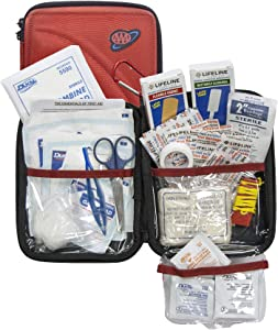 Lifeline -4184AAA AAA 85 Piece Commuter First Aid Kit packaged in compact hard shell foam carry case, ideal for emergency use in cars, camping, hiking, or offices alike