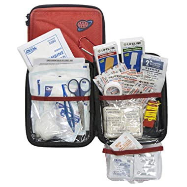 AAA 85 Piece Commuter First Aid Kit packaged in compact hard shell foam carry case, ideal for emergency use in cars, camping, hiking, or offices alike