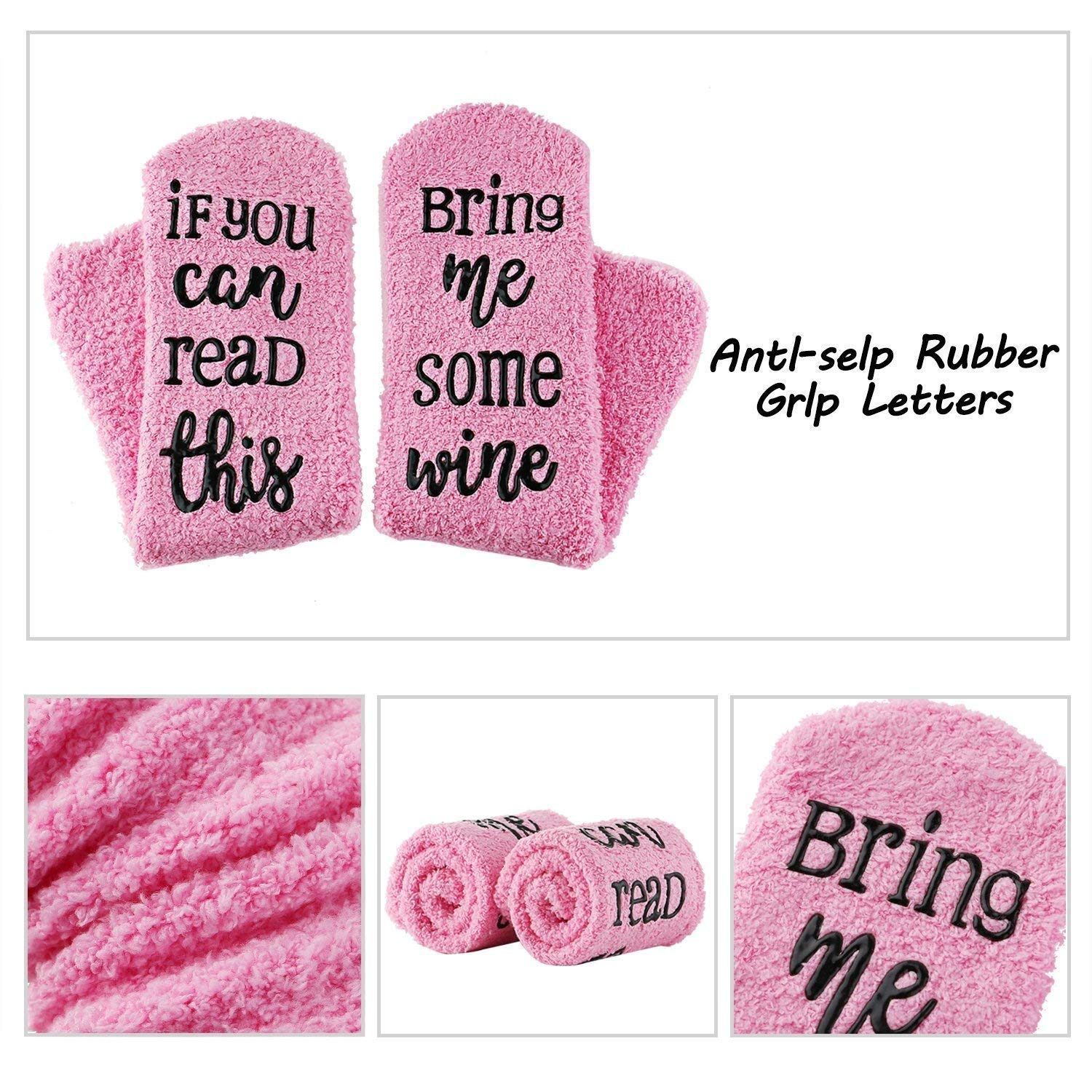 """Christmas Birthday Stocking Stuffers for Women,Gifts for Mom Her Wine Lover Wife Friends Gifts For Her-Wine Socks with Funny Words /""""If You Can./"""" Valentines Day"""