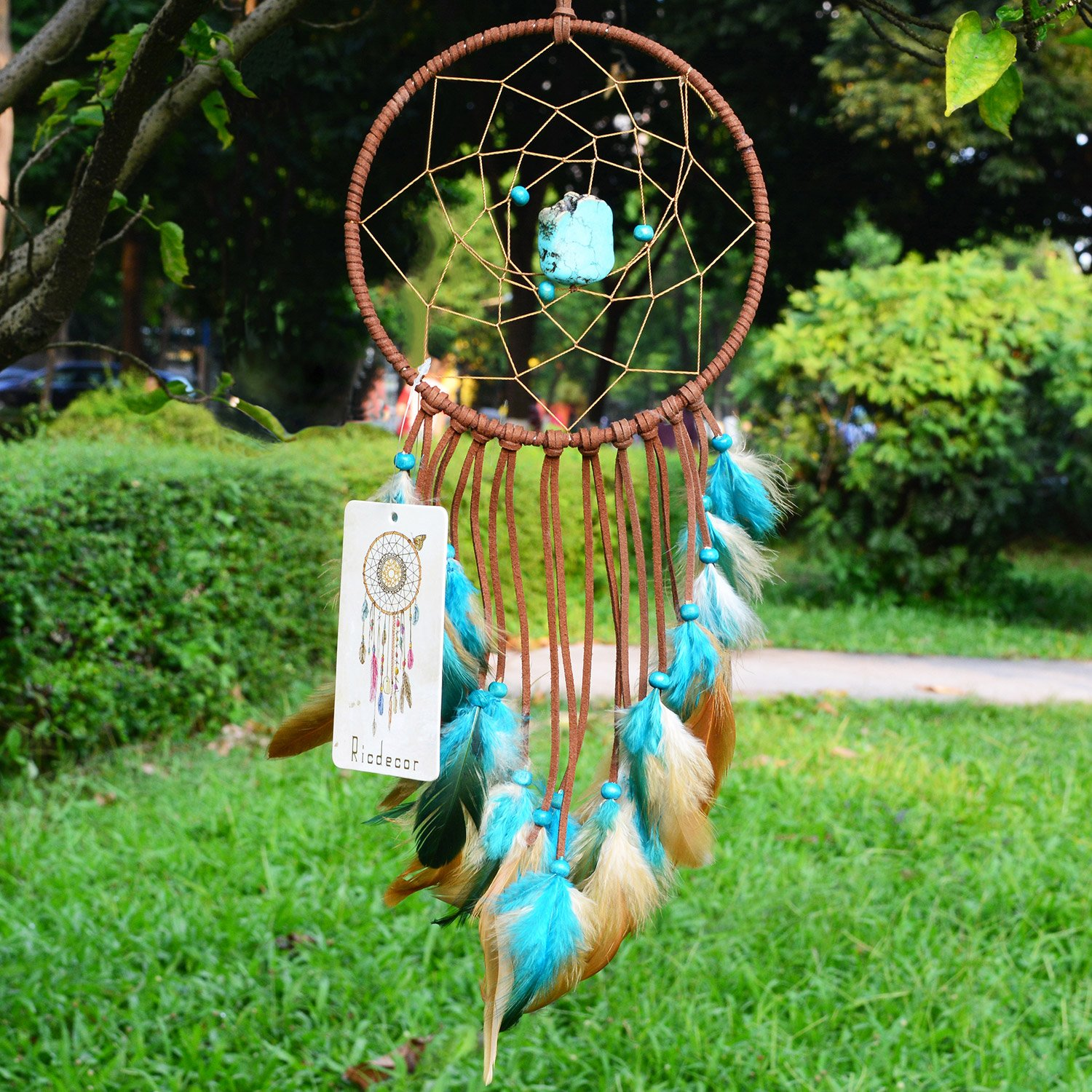 Ricdecor Dream Catcher Wall Hanging Car Hanging Decoration Ornament (Blue Turquoise_R)