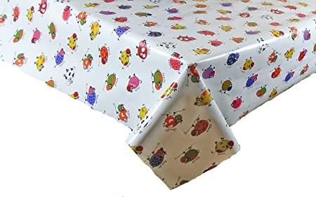 Ordinaire 2 METRES (200cm X 137cm) VINYL / PVC TABLE CLOTH FUNKY COWS DESIGN,