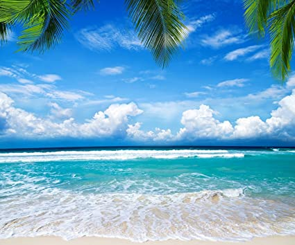10x8 Ft Seamless Blue Sea Photography Background Tropical Beach Backdrop For Summer Wedding Party Ocean Nature Photo Studio Picture Prop