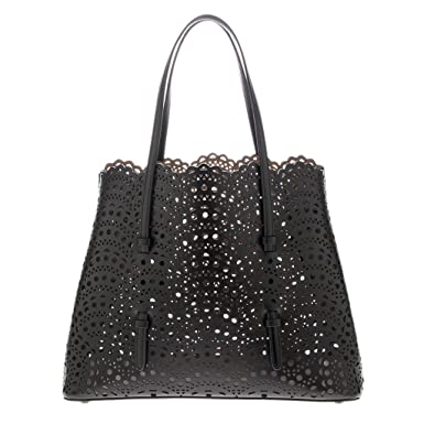 40a3085b7 Image Unavailable. Image not available for. Color: Alaia Women's Vienne Small  Laser-cut Tote Black