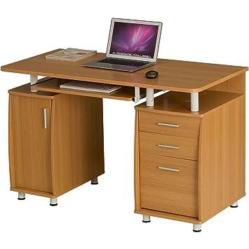 Gran Escritorio para Ordenador con archivador A4, cajonera y Armario para despacho y hogar Efecto Roble Piranha Emperor PC 2o