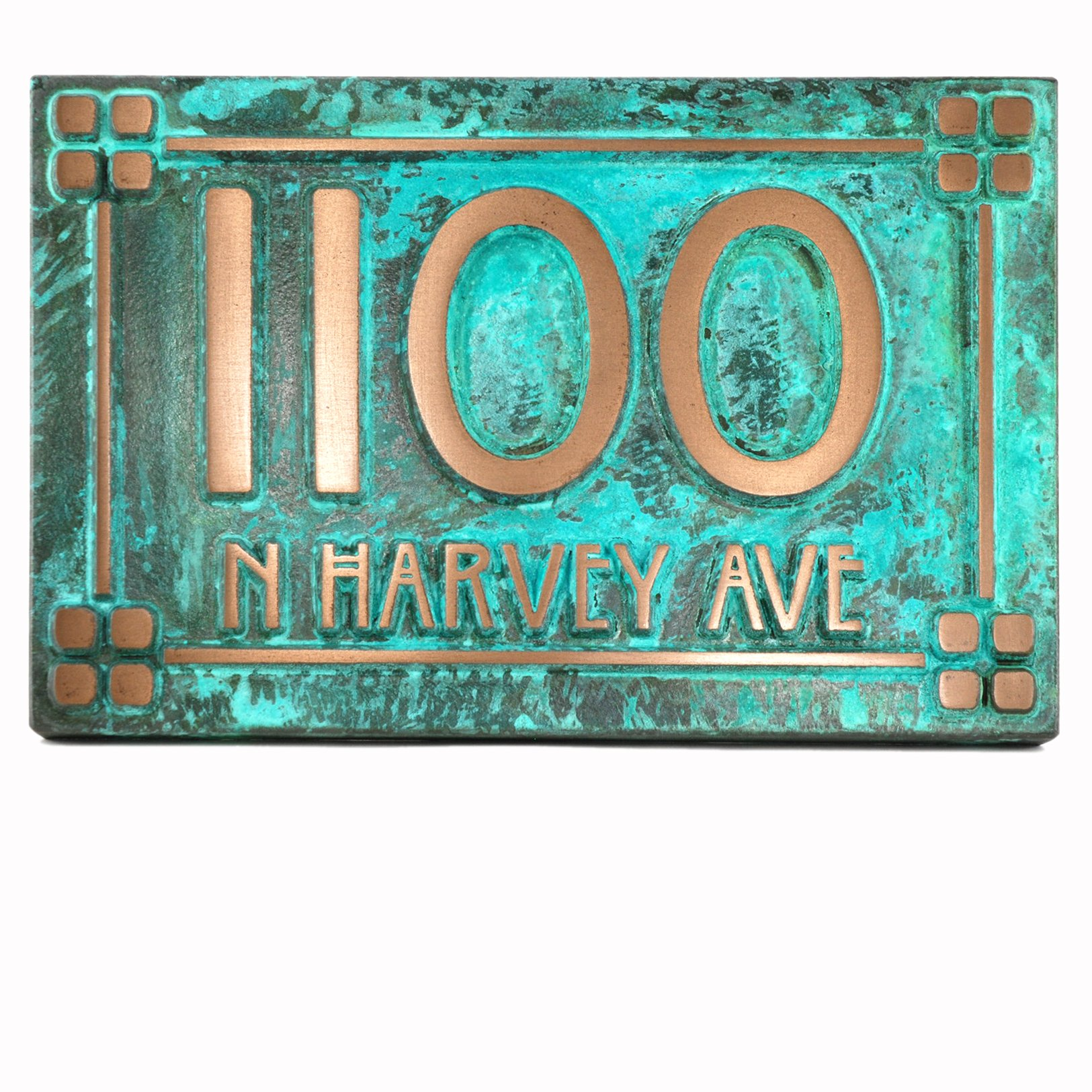 Willow Craftsman Address Plaque w/ Lines 12x8 - Raised Bronze Verdi Coated - House Number Sign by Atlas Signs and Plaques