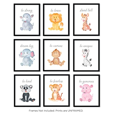 Safari Baby Animals | Nursery Décor | Baby Room Décor | Playroom Wall Art Decor Prints | Boys & Girls Room | Kids Bedroom | Set of 9 (UNFRAMED 8 x 10) Prints: Home & Kitchen