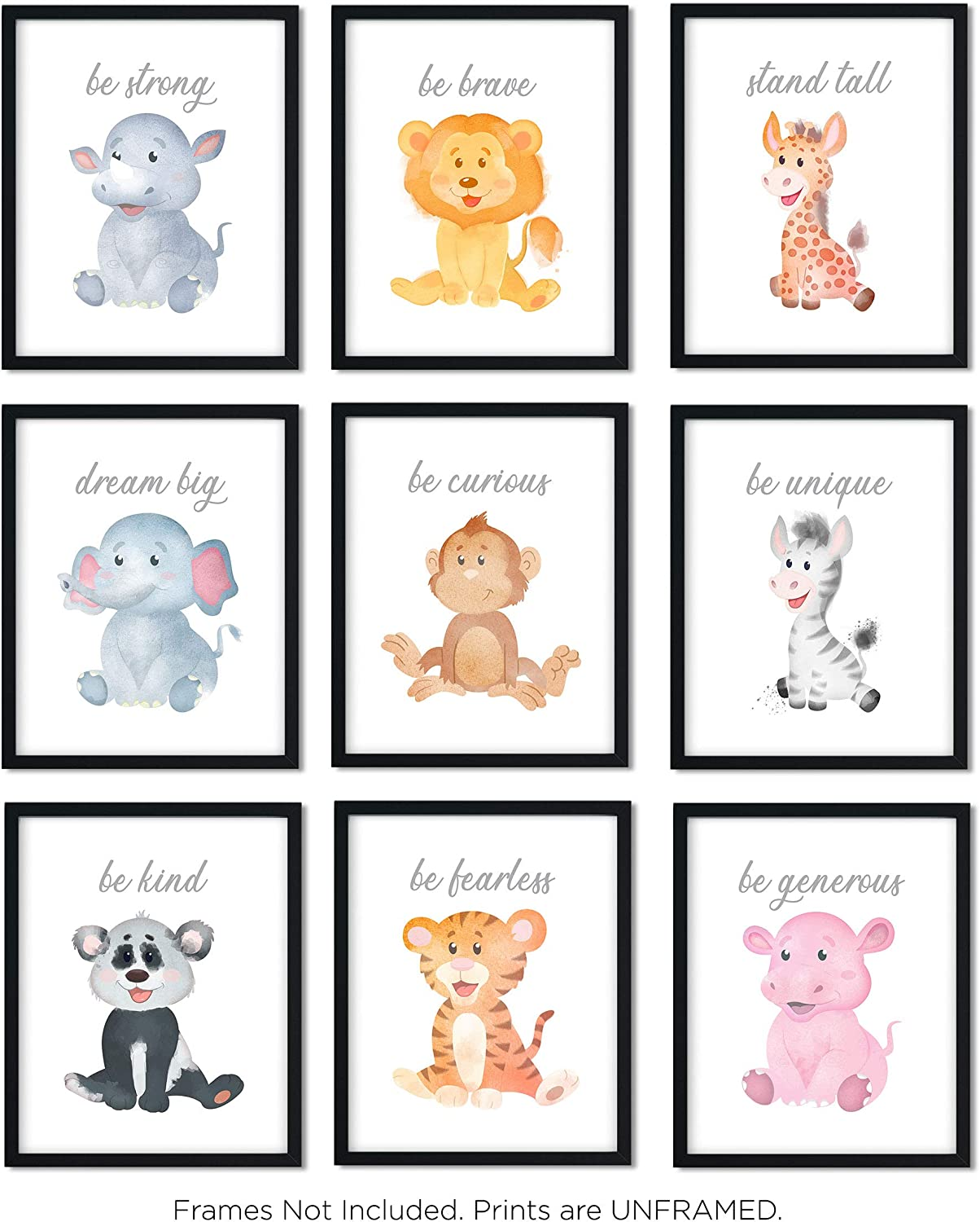 Safari Baby Animals | Nursery Décor | Baby Room Décor | Playroom Wall Art Decor Prints | Boys & Girls Room | Kids Bedroom | Set of 9 (UNFRAMED 8 x 10) Prints