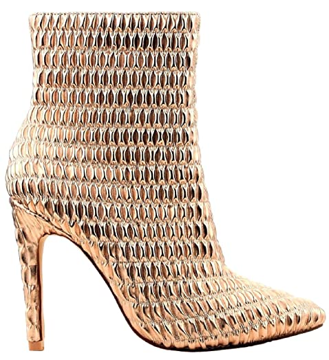 Gigi-101 Ankle High Heel Pointed Pointy Toe Elastic Boots Rose Gold