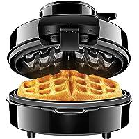 Chefman | Wafflera Circular Estilo Belga | Tecnología Volcán Anti-fugas | Negro