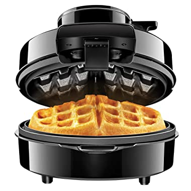 Chefman Belgian Maker, Patented No Overflow Perfect Pour Volcano Iron for Mess & Stress Waffles, Best Small Appliance Innovation Award Winner-FREE Measuring Cup & Pour Spout, Personal Size,