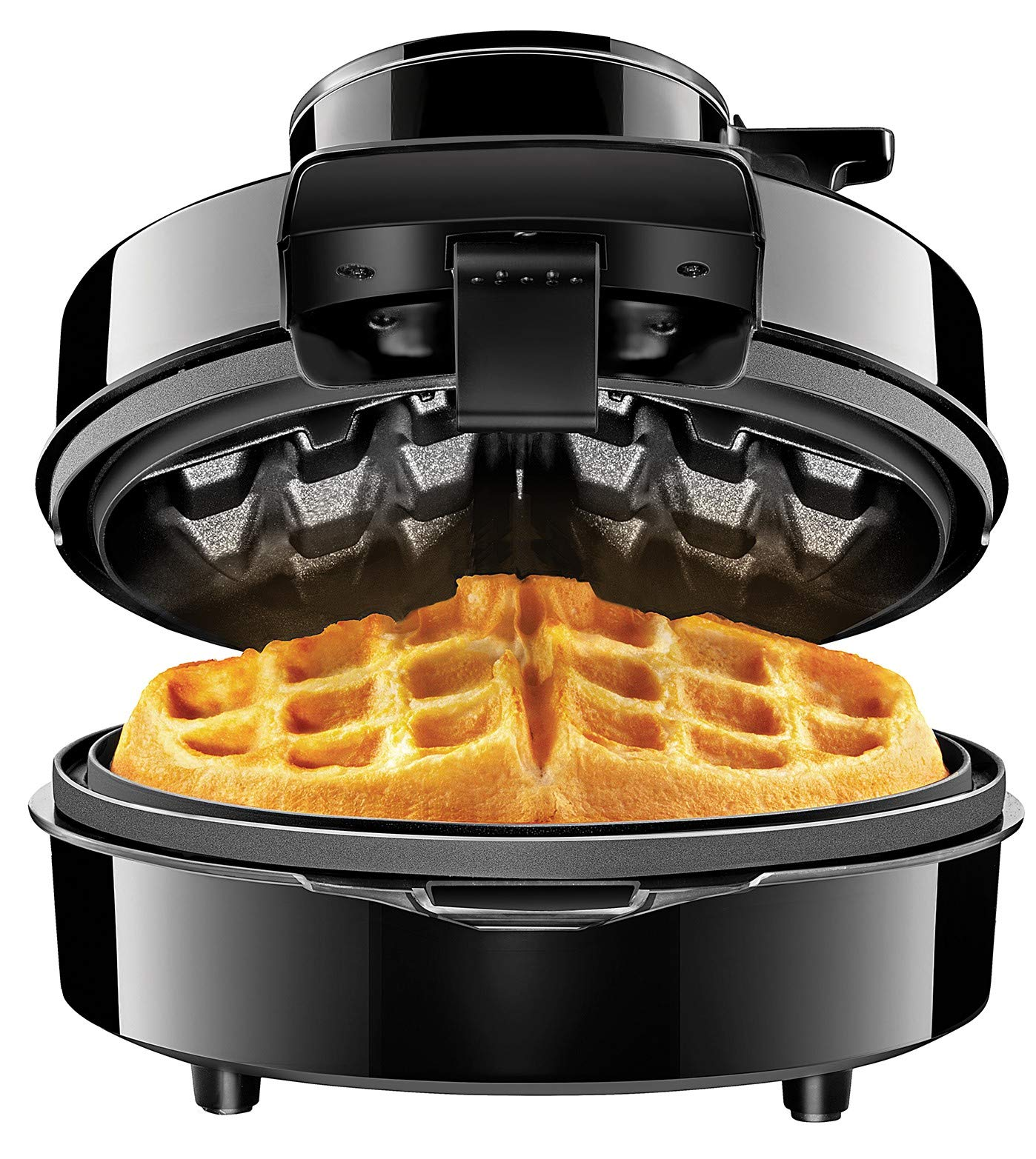 Chefman Perfect Pour Volcano Belgian Maker w/No Overflow Design Round Iron for Mess-Free Waffles, Best Small Appliance Innovation Award Winner, Measuring Cup & Cleaning Tool Included
