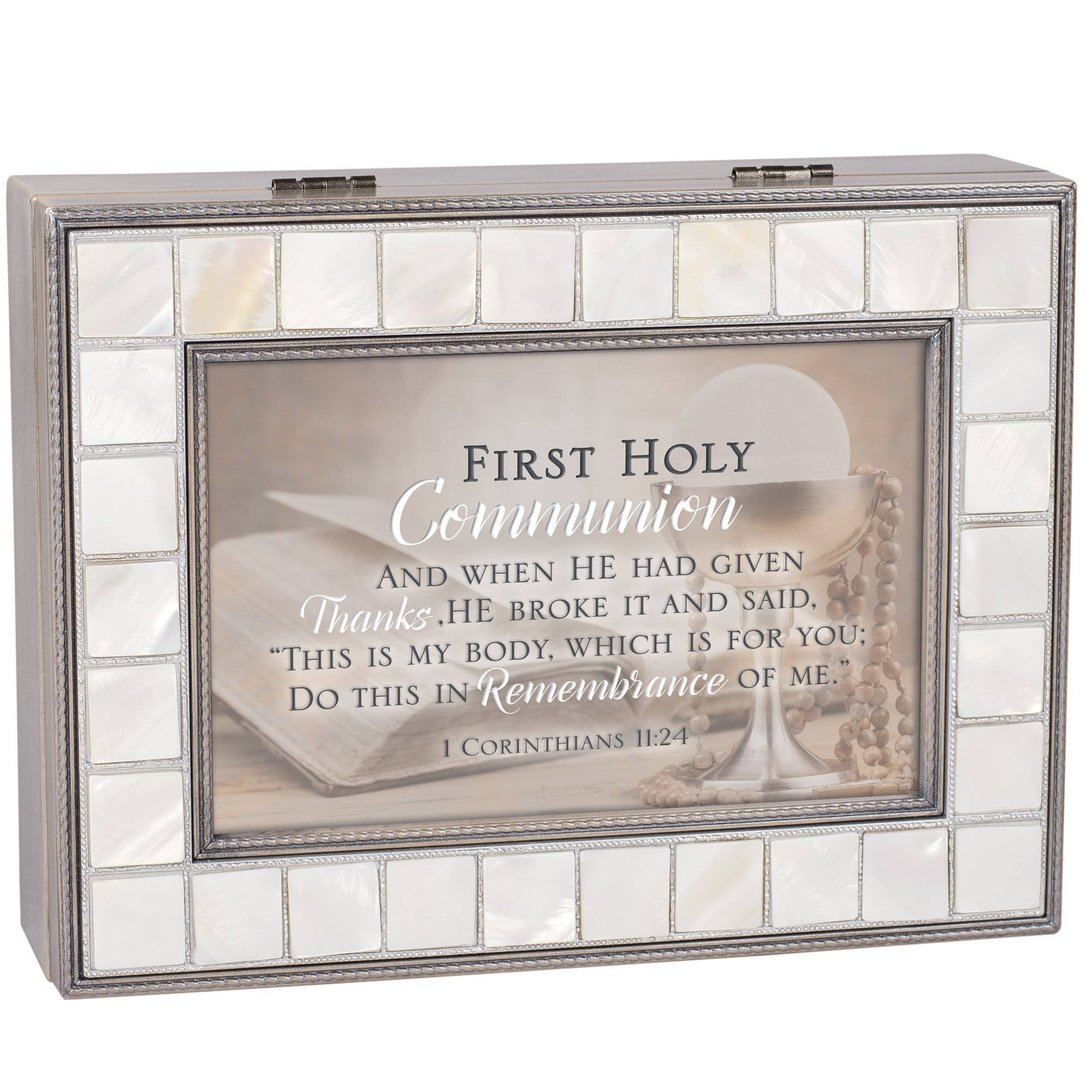 Cottage Garden First Communion This My Body Mother of Pearl Grey Jewelry Music Box Plays Ave Maria by Cottage Garden (Image #3)