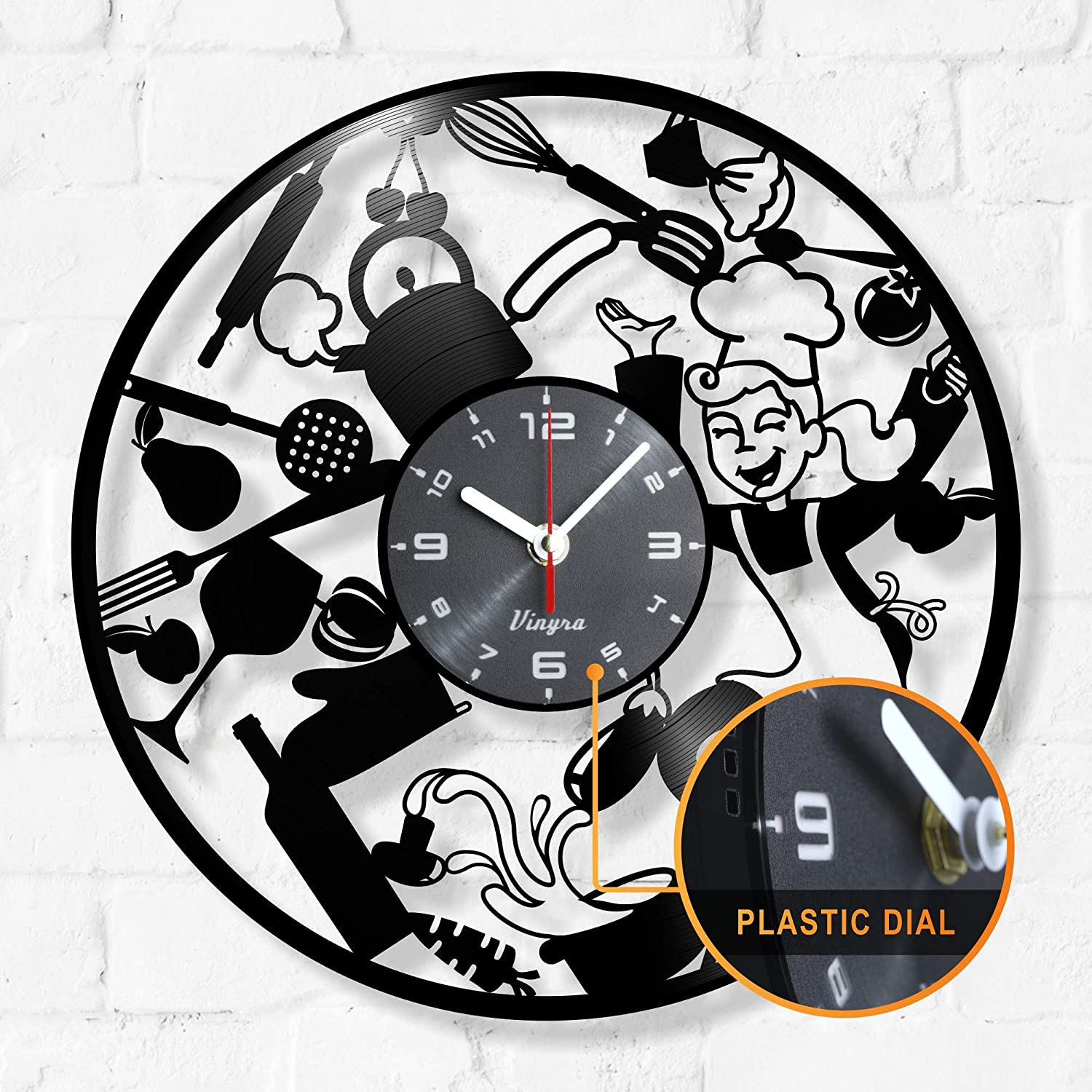 Amazon Com Kitchen Clock Vinyl Record Wall Cook Clock Utensil Forks Spoons Spatulas Wall Decor Decal Gifts Kitchen Queen Cook Wall Clock Ideas Kitchen Wall Decor Kitchen Gift Idea Kitchen