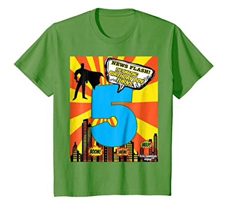 Amazon Superhero Birthday Shirts For Boys Size 5 Five Party Theme Clothing