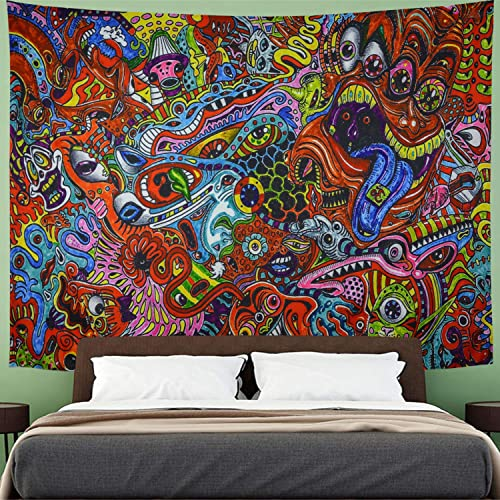 Amhokhui Psychedelic Abstract Tapestry Bohemian Arabesque Tapestry Colorful Monster Fractal Tapestry Wall Hanging for Room XL 70.8 90.5 , Animal Eye