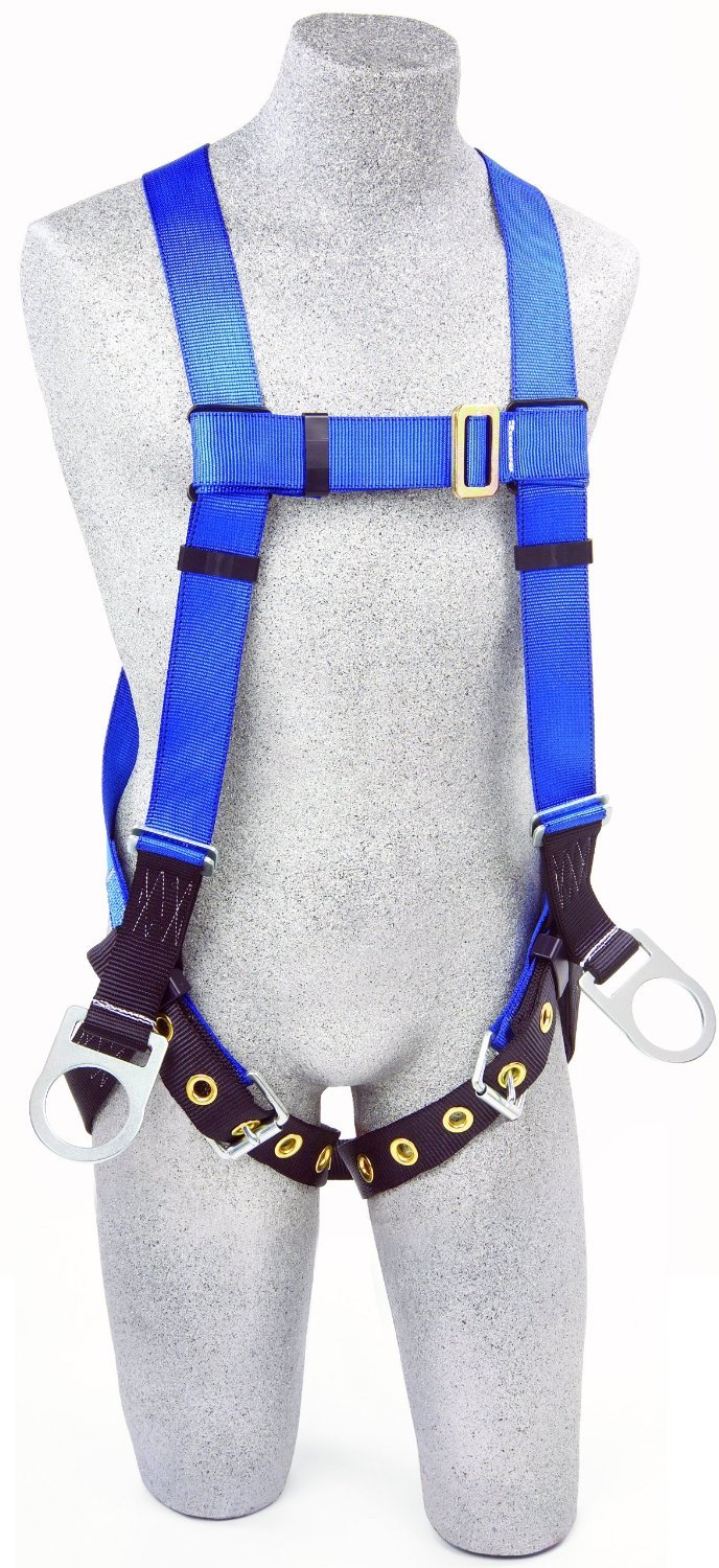 3M Protecta First AB17560 Fall Protection 5-Point Adjustment Full Body Harness, Back and Side D-Rings, Tongue Buckle Leg Straps, Universal, Blue/Black