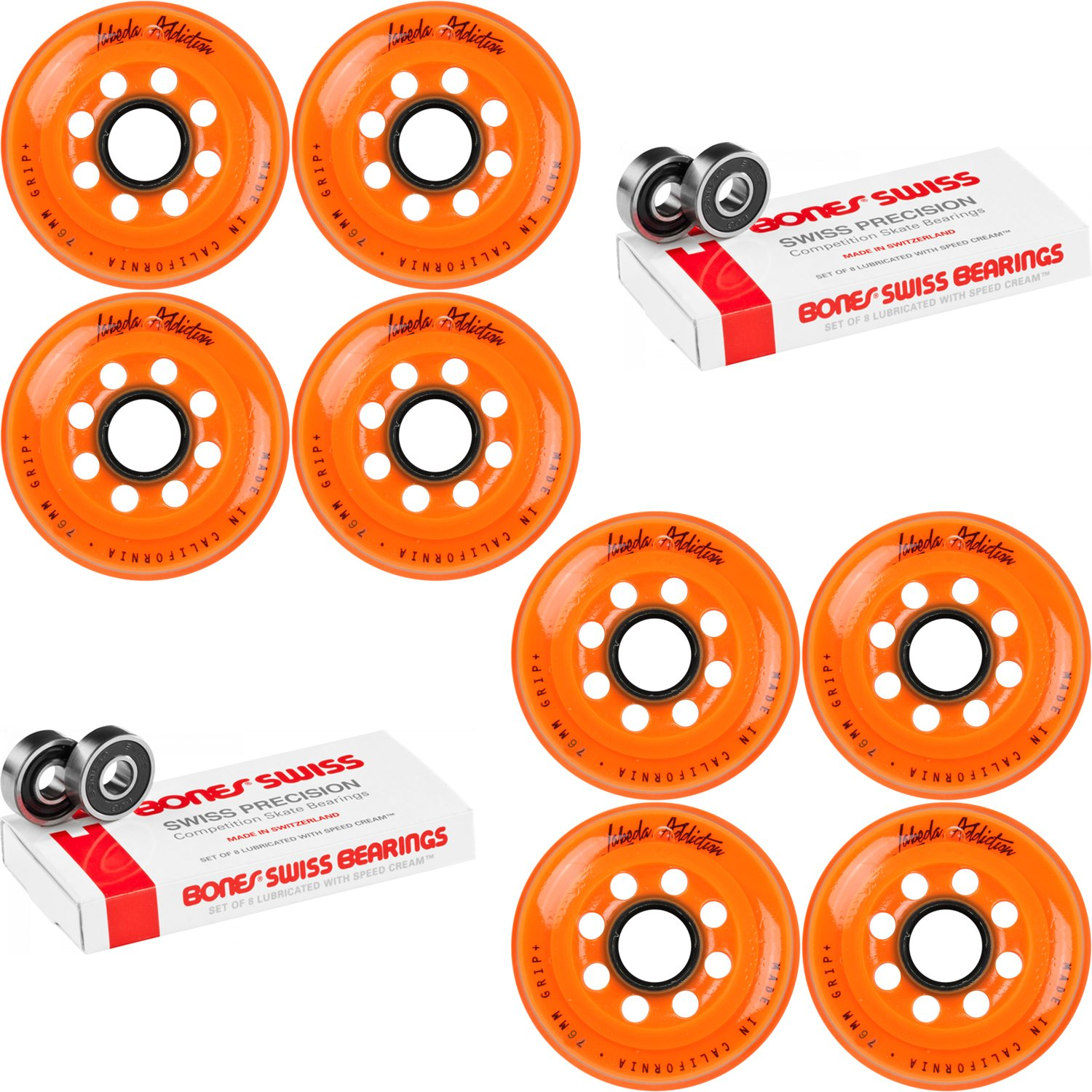 Labeda Inline Roller Hockey Skate Wheels Addiction Orange 76mm 8 Set Bones Swiss