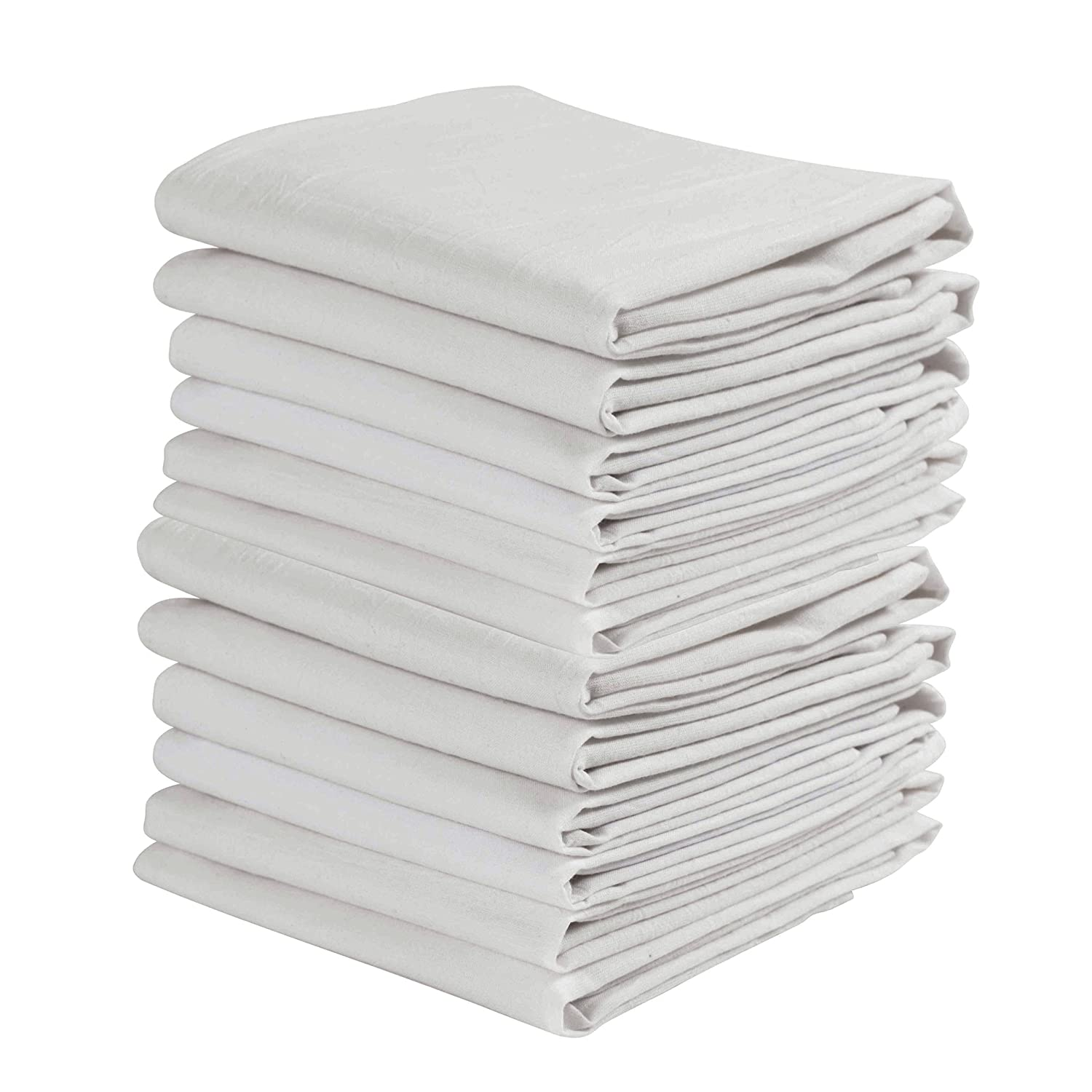 KAF Home Set of 12 White WRINKLED Flour Sack Kitchen / Chef Towels, 100-Percent Cotton, Absorbent, Extra Soft (20 x 30-Inches)