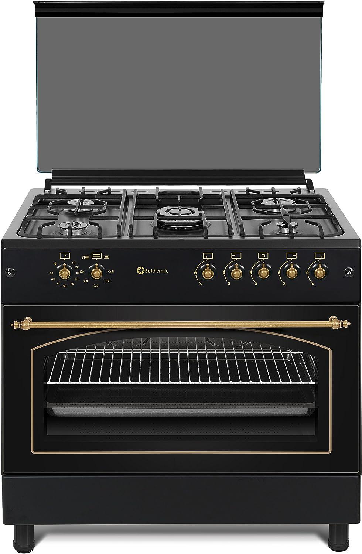 Cocina SolThermic F9L50G2-N PANORÁMICA de color Color Negro Rústico con Tiradores, mandos y ribetes dorados compuesta por 5 Quemadores y Horno panoramico