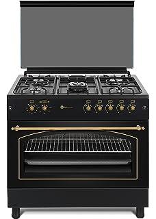 Cocina SolThermic F9L50G2-N PANORÁMICA de color Color Negro Rústico con Tiradores, mandos y