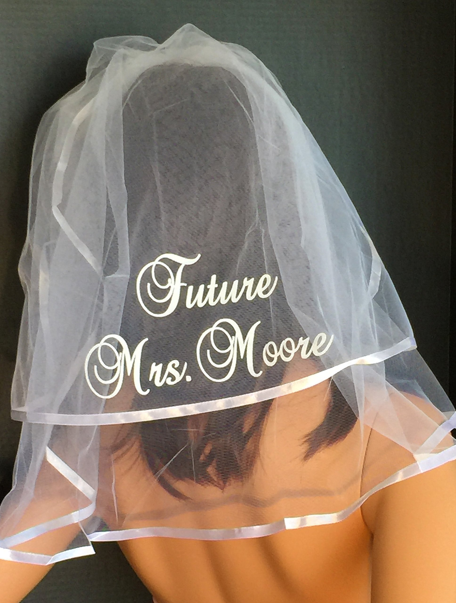Wedding Veil - Personalized in Sparkling GLITTER lettering which comes in an array of colors. Bridal Shower, Hen Party,