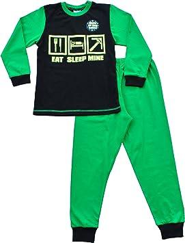 Glow In The Dark Eat Sleep Mine Gamer pijama, chicos pijama, tamaños 7 – 12 años negro negro 11-12 años