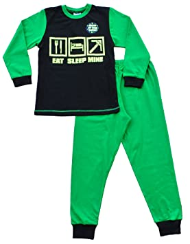 Glow In The Dark Eat Sleep Mine Gamer pijama, chicos pijama, tamaños 7 –