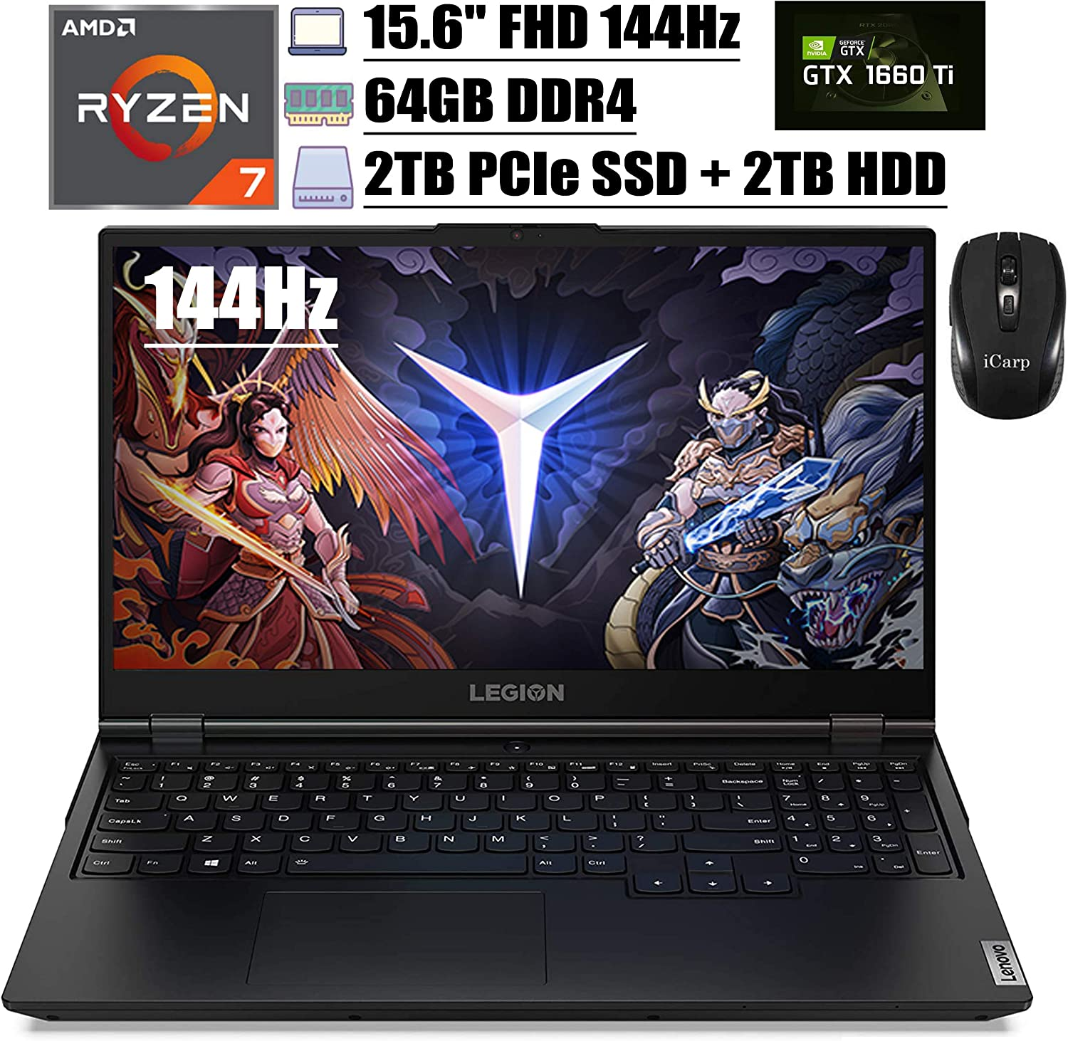 "2020 Flagship Lenovo Legion 5 Gaming Laptop 15.6"" FHD 144Hz AMD Octa-Core Ryzen 7 4800H (Beats I7-9750H) 64GB DDR4 2TB PCIe SSD 2TB HDD GTX 1660Ti 6G Backlit Webcam Win 10 + iCarp Wireless Mouse"