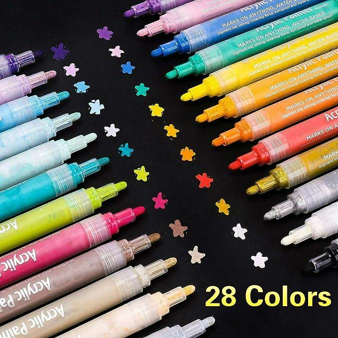 SUPERSUN 28 Farben Acrylstifte Marker Stifte, Acrylfarben Wasserfest Marker Holz Stift Farbe für Steine Bemalen, Holz, Leinwa