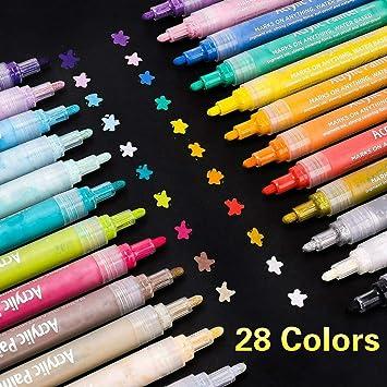 Supersun 28 Farben Acrylstifte Marker Stifte Acrylfarben Wasserfest