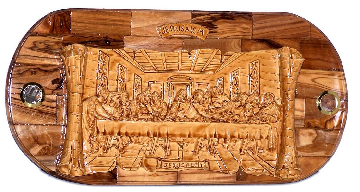 Sculpture wood carving last supper jesus stock images photos