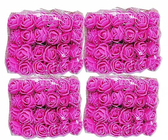 Cotigo -96 Piezas Artificiales Rosa Flor de Goma eva Novia Decoración, Boda Fiesta Favor, Hogar y Jardín Decoración, Artesanía, Bricolaje,Color Rosa: ...