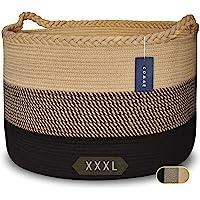 """COMSE Extra Large Blanket Basket, Storage Basket, Rope Laundry Basket, 21.7""""x 13.8"""", Cotton Rope Basket, XXXL Laundry…"""