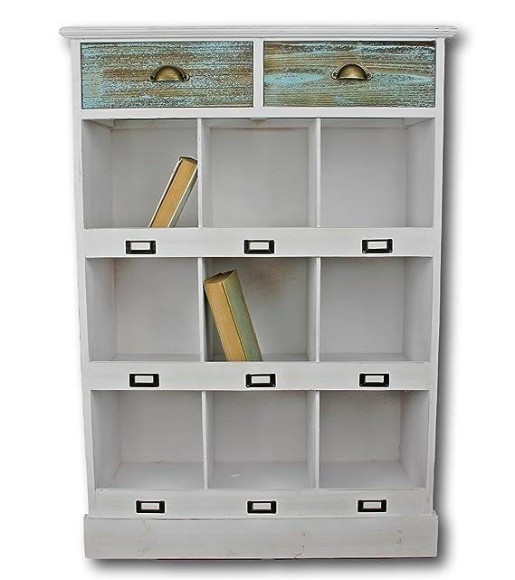 elbmöbel 112 x 78 x 31cm Küchen-Regal in weiß aus Holz im Landhaus ...