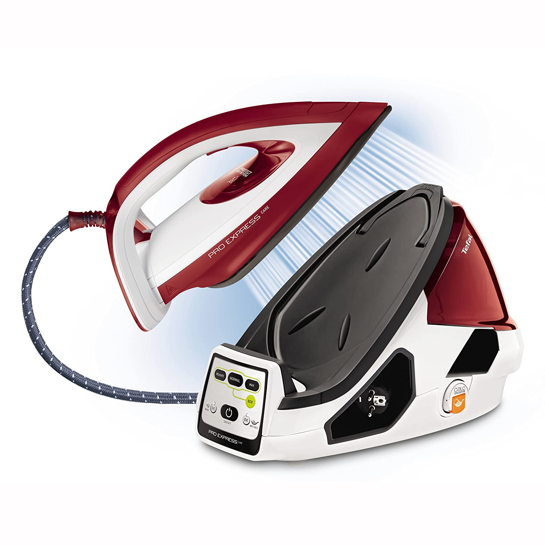 Tefal Pro Express Care GV9061 Dampfb/ügelstation variable vapor 0-120 g//min, Dampfsto/ß: 480 g//min, desconexi/ón autom/ática de 7 bar blanco//rojo