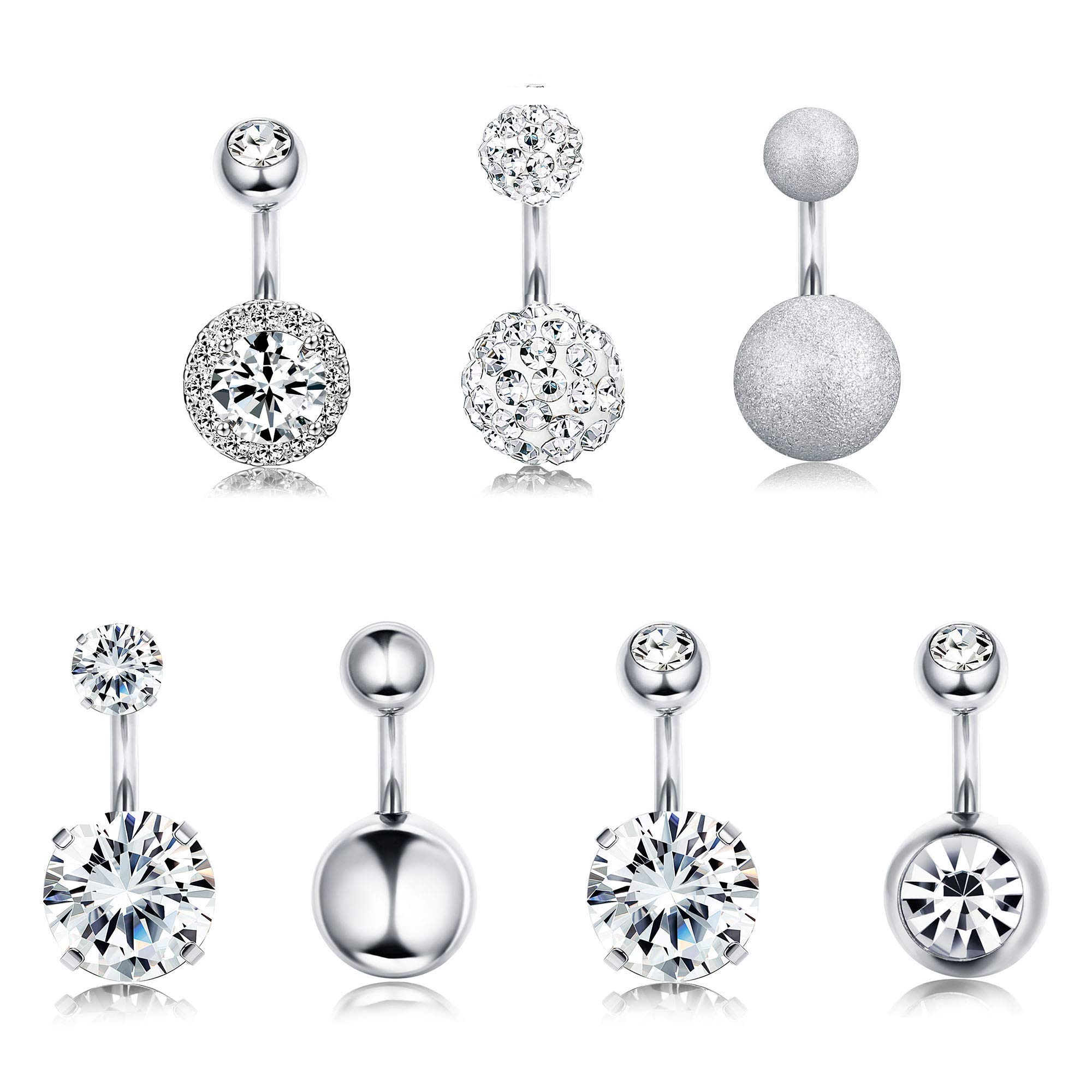 FUNRUN JEWELRY 7PCS 14G 6MM 1/4 Inch 316L Surgical Steel Belly Button Rings Belly Earring CZ Navel Rings Barbell Body Piercing Jewelry (A:Silver Tone) by FUNRUN JEWELRY